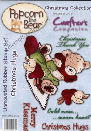 Christmas Hugs Christmas Popcorn Bear Unmounted Rubber Stamps